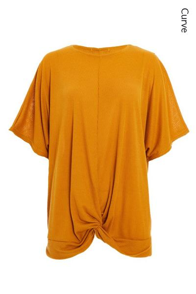 Curve Mustard Ribbed Knot Front Top